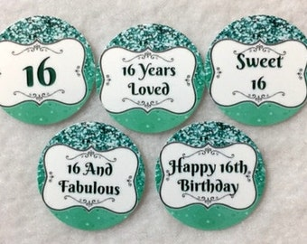 Set Of 50/100/150/200 Personalized 16th Birthday Party  1 Inch Circle Confetti