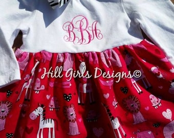 Baby Girl's monogrammed Dress with Cute Printed Fabric Skirt with Animals
