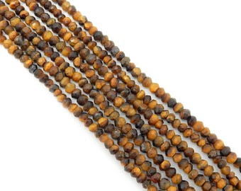 Tiger Eye 4mm Faceted Rondell Beads-- 1 STRAND - (S41B15b-02)