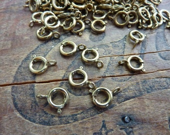 Antiqued Brass Bronze 7mm Spring Ring Clasp (20)