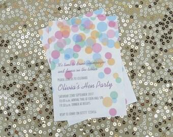 Hen / Bachelorette Party, Bridal Shower pastel coloured confetti themed printable invitation