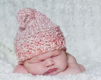 KNIT KISS HAT for Baby, Red or Pink Acrylic Yarn, Photography Prop