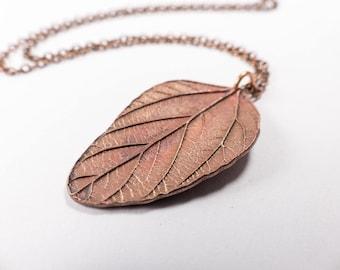 Large Copper Leaf Necklace - Copper Leaf Pendant - Copper Gift - Long Copper Necklace - Copper Jewelry - Nature Necklace, Woodland Jewellery