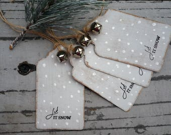Christmas gift tags, set of 4, holiday tags, christmas labels, gift wrap, hand made tags, grey and white tags, let it snow labels, christmas