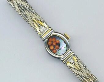 Up-cycled Vintage Watch Band Bracelet, Vintage Watch Dial, Fun Floating Locket, Silver & Gold Mesh Bracelet - Gold Stones by enchantedbeas