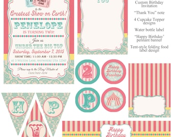 Vintage Under the Big Top Circus Birthday Party Pack
