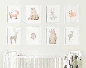 Woodland Animals Set - Digital Download Prints - Forest Animal Nursery - Prints Series - Wall Art - Watercolor - Gender Neutral Nursery