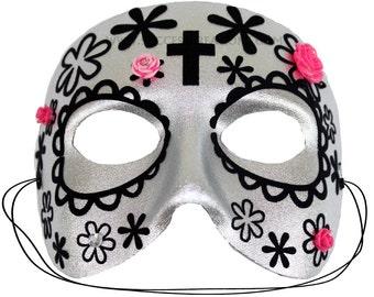 Malena Silver Day of the Dead Mask   A-2458-E