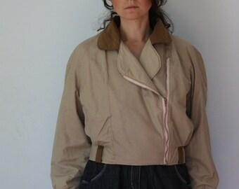 80s Cream Asimmetric Crop Canvas Jacket Shoulder Padded Bomber Khaki Medium