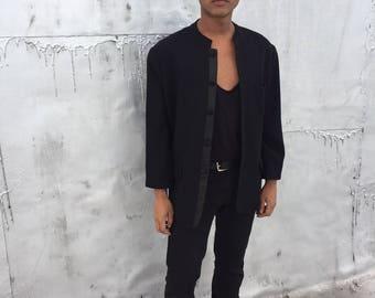 Men's Vintage Black Tuxedo Nehru Collar Jacket