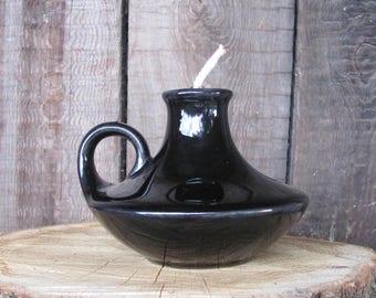 Swedish Vintage Pottery Oil Lamp; GULDKROKEN  Oil Lamp by Leslie Jean; Vintage Oil Lamp; Black Glazed Oil Lamp; Vintage Home Decor
