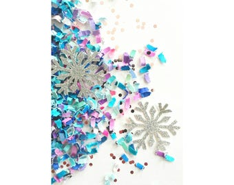 Frozen Confetti. Frozen Table Scatter. Teals, Purple and Silver Snowflake Confetti. Frozen Party. Frozen Birthday. Elsa Party.