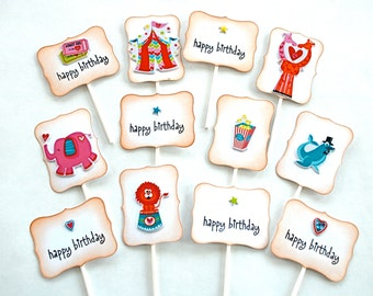 Circus Party. Happy Birthday Cupcake Toppers. Circus Birthday. Circus Birthday Decorations. Elephants. Lions. Giraffes. Stars. Hearts. Kids.