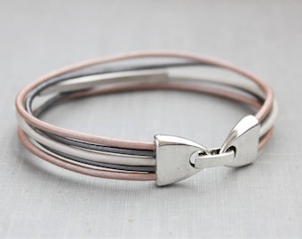 Leather Bracelet. Blush, pearl, and gray
