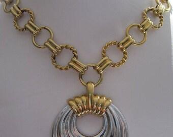 Two Tone Door Knocker Necklace