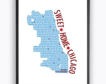 Sweet Home Chicago Print, Chicago City Map Printable Wall Art, DIY Digital Art, Print At Home Chicago Flag Art