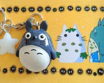 My neighbor Totoro Bag Charm, Studio Ghibli keychain, Anime Resin charm,  Acrylic Star Key Ring, Bag Accessories,Flatback Totoro Key Chain