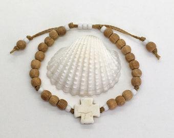 sandalwood bracelet, bohemian jewelry, beach boho