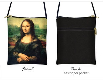 Mona Lisa Small Crossbody Purse, Phablet Cover fits iPhone 6 Plus Case, Cross Body Shoulder Bag, Large Cell Phone Case  RTS