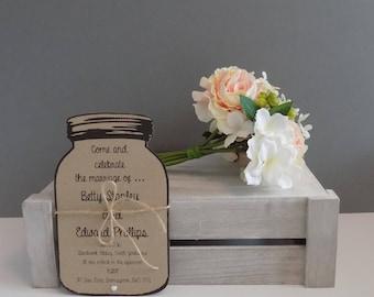 Personalised Shabby Chic Mason Jar Wedding Invitation, RSVP and Wedding Wish