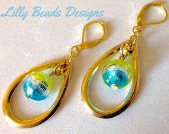Gold Teardrop Dangle Earrings,Murano Glass Drop Earrings,AquaGreen Venetian Earrings,Silver Foil Earrings,Shiny Earrings,Blue Green Earrings