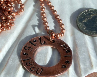 Antiqued Copper, Name and Birthdate, Stamped Blank 10 Inch Ball Chain Necklace,Jewelry