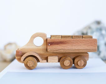 Gift for baby - Wooden Toy Truck with wooden blocks - Plain Wood - Gift For Kids -  Handmade Wooden Toy - Wooden Transporter Toy