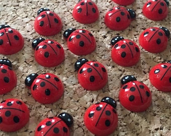 Ladybug Thumbtacks or Magnets, 15pcs - dorm decor, hostess gift, weddings, bridal shower, baby shower, gift