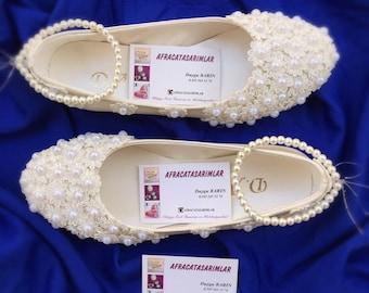 Wedding Shoes, Bridal Shoes, Lace Shoes, Lace Flats Shoes, Bridal Ballet Shoes, Bridal Flats, Ivory Flats,Wedding Ballet Flats, Pearl Shoes