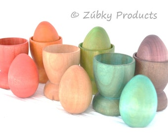 Toddler Color Matching Educational Game Set by Zúbky - Solid Wood Eggs and Cups in Rainbow Colors - Waldorf Montessori Game for Children