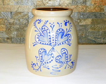 """Primitive Stoneware Crock Grey and Blue Glaze Heart 7 3/4"""" High by 7"""" Wide Crock, Perfect for Kitchen Utensils, Fill with Pip Berries"""