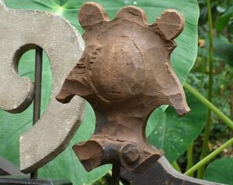 Antique Architectural Salvage Keystone Pediment, Hand Carved Wooden Pediment from 1800's, Primitive Rustic Decor