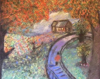 Giclee Print From Original Pastel-A Walk in the Woods-Neo Impressionism-Abstract Landscape