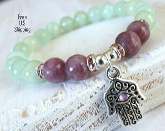 Jade Bracelet, Lepidolite bracelet, Hamsa bracelet, talisman bracelet, protection bracelet, Reiki jewelry, healing bracelet, Yoga bracelet