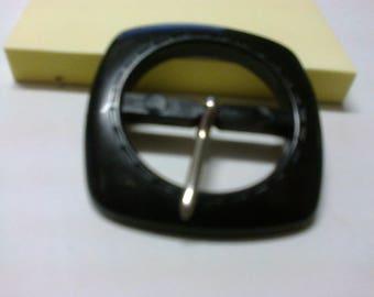 Passage black plastic square earring 2.5 cm * BO52 *.