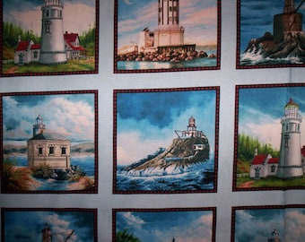 1 Panel West Coast Lighthouses Elizabeth's Studio Fabrics Blue white brown