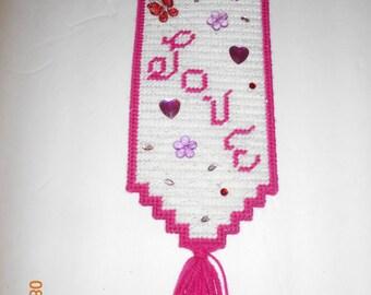 Love, Wall hanging, door hanging, plastic canvas