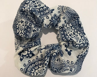 Blue and White Paisley Scrunchie