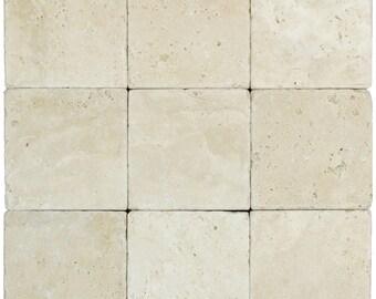 White Classic Tumbled Travertine Mosaic Tiles 4×4 (9 Pieces per order)