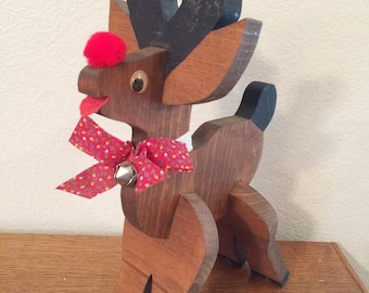 "Vintage Hand made Wood Reindeer 4 PIECE Fit Together  14"" TALL"
