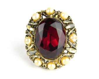 Vintage Huge Faceted Red Glass Garnet & Faux Pearls Solitaire Ring - 20 Carats Foil Back Glass Rhinestone - January Birthstone - Adjustable