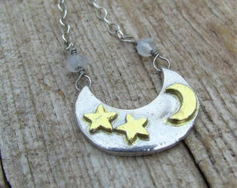 Sterling Silver Crescent Moon Necklace, Moonstone Necklace, Moon Necklace, Two Toned Necklace, Gold Star Necklace