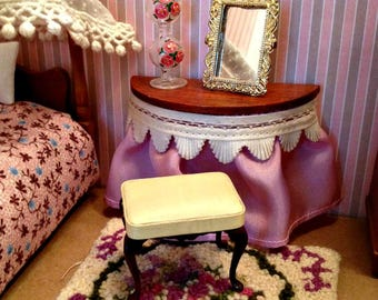 Miniature Dressing Table Set, Vintage Skirted Table, Bench, and Mirror in 1:12 Dollhouse Scale
