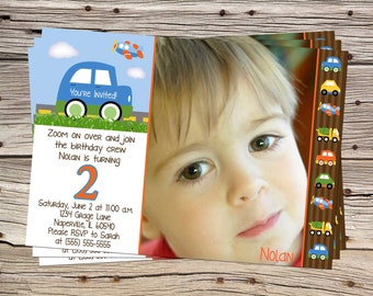 Transportation Cars Trucks Planes Birthday DIGITAL Photo Invitation