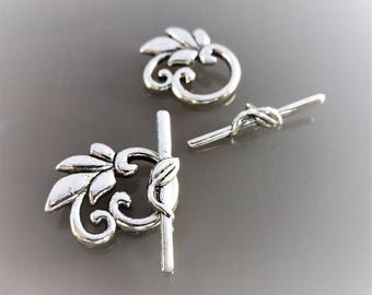 2 Clasps 2.3 cm sheets metal color silver blackened