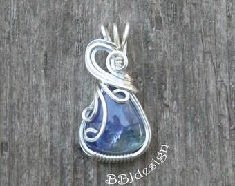 Tanzanite Gemstone Cabochon Pendant Necklace Sterling Silver Wire Wrapped Purple Triangle