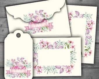 Floral Envelopes, Tags & Cards Digital Printables Pack
