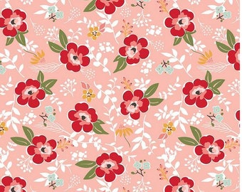 Floral Cotton Flannel Fabric- Coral, Aqua, and Red Modern Flower Sweet Prairie Main Floral- Riley Blake Designs by Sedef Imer Floral Fabric