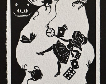 ALICE IN WONDERLAND Papercut - Down the Rabbit Hole - Hand-Cut Silhouette