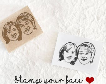 Personalized couple portrait rubber stamp,Custom couple portrait stamp, wedding stamp, Custom Face Stamp,gifts for couples